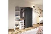 Terre De Nuit Dressing extensible en bois blanc rideau anthracite - dr6017