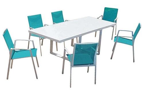 Proloisirs Salon de jardin moderne bleu 6 personnes cyclades