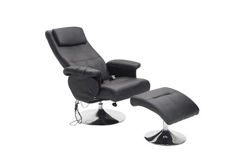 HOMCOM Fauteuil de massage et relaxation électrique chauffant pivotant  inclinable avec repose-pied noir d571fd27866b