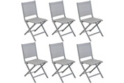 Proloisirs Chaises pliantes en aluminium brossé thema (lot de 6)