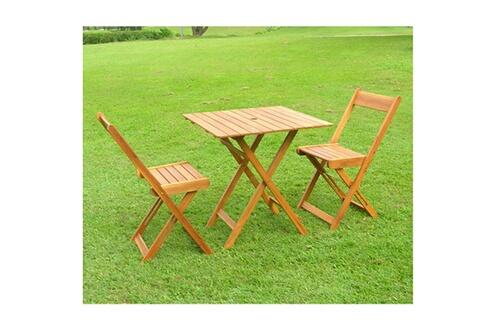 Delamaison Salon de jardin pliant 2 places en acacia