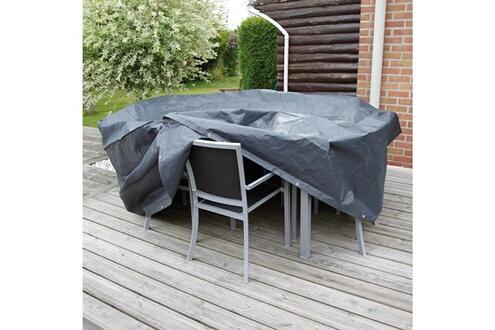 Ubbink Housse de protection salon de jardin rond 4/6 places diam. 205 cm  gris/noir graphite