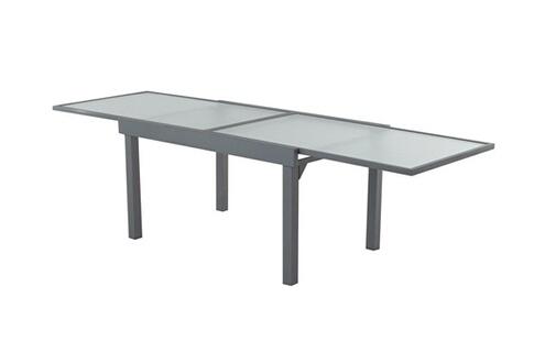 Delamaison Table de jardin extensible en aluminium et verre longueur  137/270cm atelier