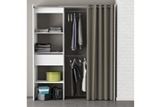 Demeyere Dressing en bois blanc/taupe extensible avec niches tiroir penderies + rideau coton chicago