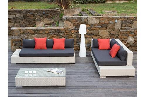 Delamaison Salon de jardin 6 places : canapé d\'angle + table basse ...