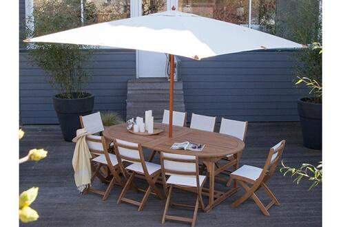 Delamaison Parasol droit carré en bois et polyester 290x290 cm blanc ...
