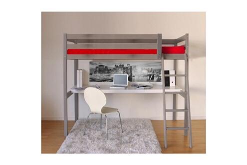 Weber industries lit mezzanine bois gris 90x190 cm avec bureau et
