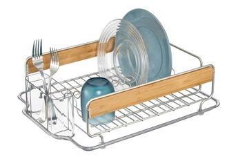 Egouttoir en métal et bois avec range couvert en plastique 43.25x34.25x12.75cm formbu metal,plastic