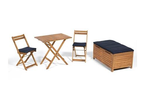 Delamaison Salon de jardin 2 places + 1 banc coffre en acacia denim
