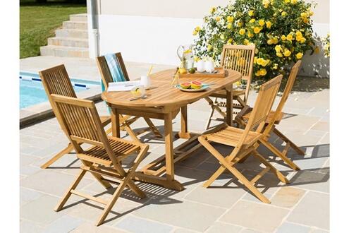 Delamaison Table de jardin ovale extensible teck 170/210x90cm