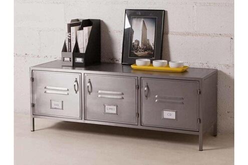 delamaison meuble tv bas 3 portes en gris l128cm h47cm decoclico factory
