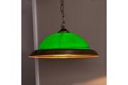 Tosel Suspension simple en métal doré vieilli et verre vert billard