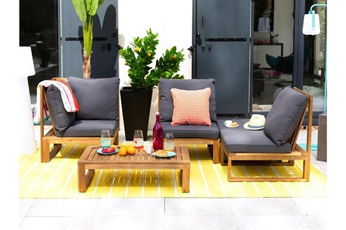 Delamaison Salon de jardin bas 4 places en acacia gris movea
