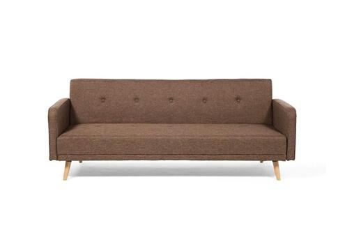 Delamaison Clic clac 3 places en tissu chocolat avec pieds en bois design lili