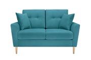 Delamaison Canapé 2 places en tissu bleu avec dossier capitonné et pieds en bois maximilian