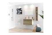 AUCUNE Alban ensemble salle de bain simple vasque avec miroir l 80 cm - décor bois effet chene vieilli