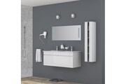 AUCUNE Alban ensemble salle de bain double vasque avec miroir l 120 cm - blanc laqué brillant