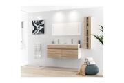 AUCUNE Alban ensemble salle de bain double vasque avec miroir l 120 cm - décor bois naturel