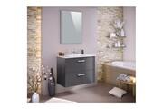 AUCUNE Stella ensemble salle de bain simple vasque avec miroir l 80 cm - gris laqué brillant