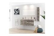 AUCUNE Alban ensemble salle de bain double vasque avec miroir l 120 cm - décor bois gris
