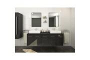 AUCUNE Olga ensemble salle de bain double vasque l 150 cm avec miroir - gris laqué