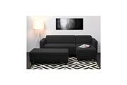 Kulma Finlandek canapé d`angle réversible + banc kulma 3 places - tissu noir - contemporain - l 205 x p 141 cm