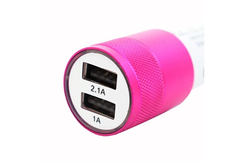 PH26® Chargeur allume-cigare usb rose de voiture double ports ultra rapide usb x2 car charger 12/24v pour bq-5521l rich max