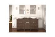 AUCUNE Era ensemble salle de bain double vasque l 150 cm - décor bois legno sombre