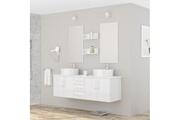 AUCUNE Diva ensemble salle de bain double vasque avec miroir l 150 cm - blanc laqué brillant