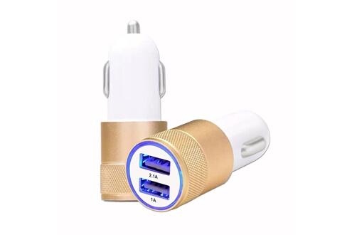 PH26® Chargeur allume-cigare usb or gold de voiture double ports ultra rapide usb x2 car charger 12/24v pour samsung galaxy m20