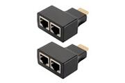 Xcsource Hdmi 1080p à double port rj45 ethernet réseau extender câble adaptateur plus par cat5e cat6 100ft / 30 m pour hdtv hdpc stb ac1408