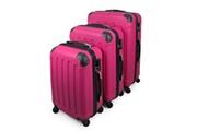 Todeco Set de valises, bagages pour voyage, 51 61 71 cm, fuchsia, abs, coins protégés, matériau: plastique abs