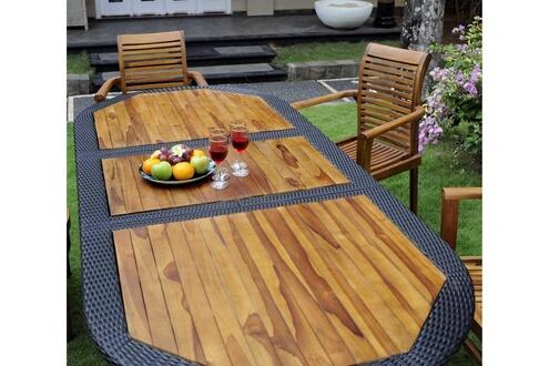 Wood-en-stock Salon pour jardin en teck huilé et résine tressée 6 ...