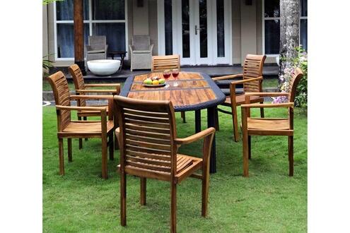 Wood-en-stock Salon pour jardin en teck huilé et résine tressée 6 fauteuils  empilables - table 180-240 cm
