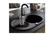 Vidaxl Évier de cuisine en granit bac unique ovale noir