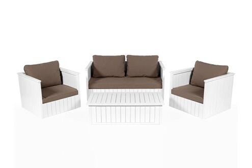 Delamaison Salon de jardin bas 4 places en eucalyptus blanc + ...