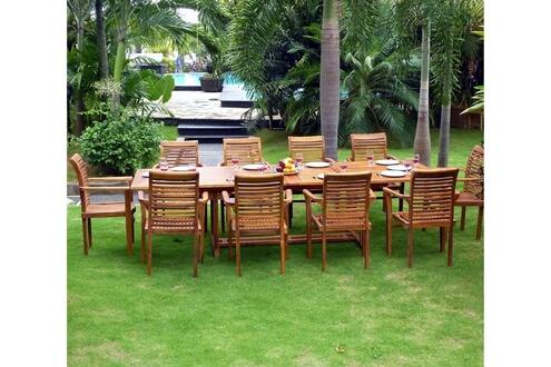Wood-en-stock Salon en teck pour le jardin - table grande taille 200 ...