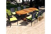 Wood-en-stock Ensemble de jardin table en teck et chaises en résine tressée - 8 places