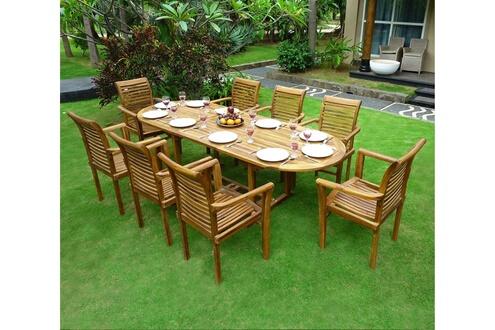 Wood-en-stock Salon de jardin en teck 8 fauteuils de jardin en teck ...