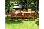 Wood-en-stock Salon en teck pour le jardin - table grande taille 200-300cm - 10 fauteuils