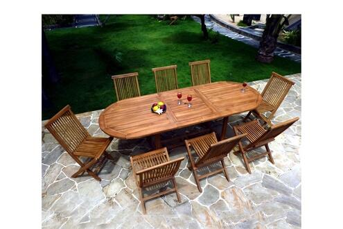 Wood-en-stock Salon de jardin en teck huilé pour 8-10 personnes ...