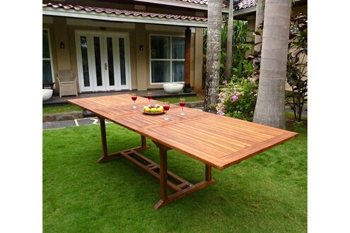 Wood-en-stock Table de jardin xxl en teck huilé - double rallonge ...