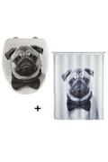 Wenko Accessoires de salle de bain - abattant wc et rideau de douche chien - blanc et gris