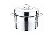 Bo Time Cuiseur à vapeur / couscoussier en inox à 2 étages plateaux - diamètre 26cm
