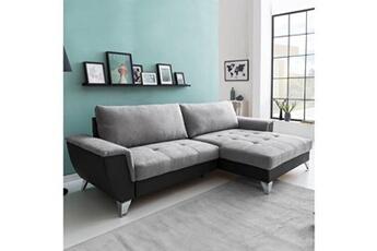 Canapé d'angle convertible look coffre droit / gris clair-gris foncé