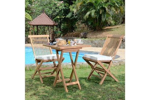 Teck\'attitude Salon de jardin en teck ecograde sawu, table pliante carrée  60 cm + 2 chaises java