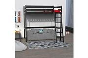 LE QUAI DES AFFAIRES Lit mezzanine studio 140x190 + 1 sommier / noir