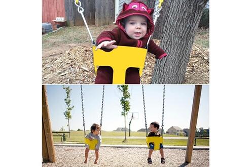 Ancheer Balancelle d'enfants en plein air jaune