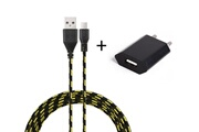 Shot Case Pack chargeur pour acer iconia tab smartphone micro-usb (cable tresse 3m chargeur + prise secteur usb) murale android universel (noir)