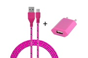 Shot Case Pack chargeur pour acer iconia tab smartphone micro-usb (cable tresse 3m chargeur + prise secteur usb) murale android universel (rose bonbon)